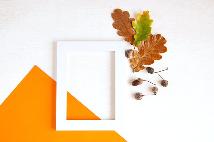 Autumn flat lay with frame.