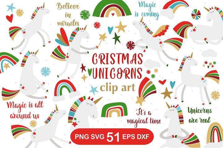 Christmas Unicorns Clipart Set