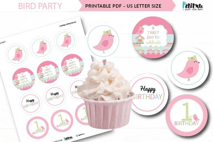 Bird party cupcakes toppers, 2 printable bird topper