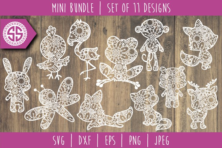 Cute Animals Mandala Zentangle Mini Bundle Set of 11 - SVG