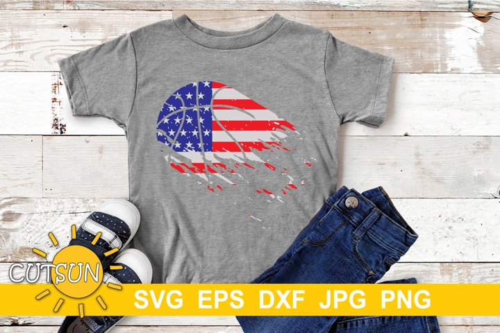 Basketball Distressed US Flag | Basketball Brushstroke SVG