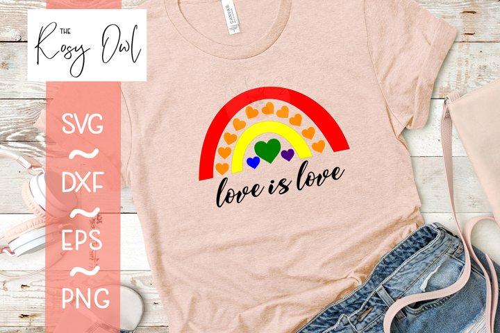 Rainbow with Hearts/Love is Love Digital Cut File