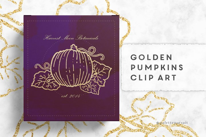 Gold pumpkins clip art, Autumn Halloween clipart