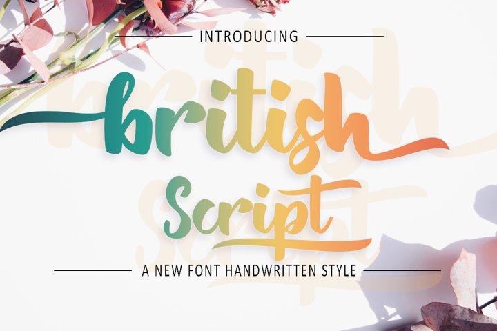 British Script - Handmade Brush Font
