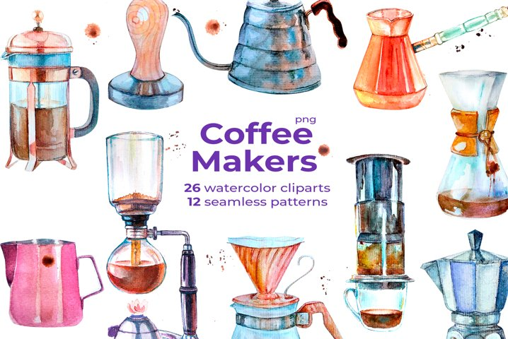 Watercolor Coffee Makers Set