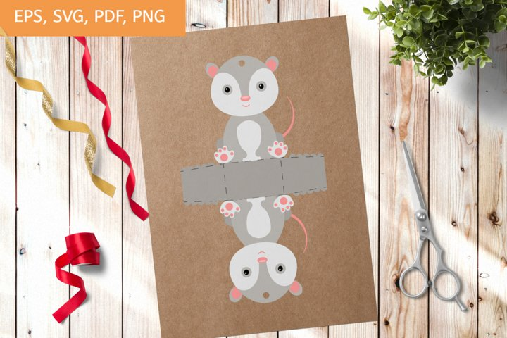 Cute Gift Package Opossum Template SVG, Gift Box SVG