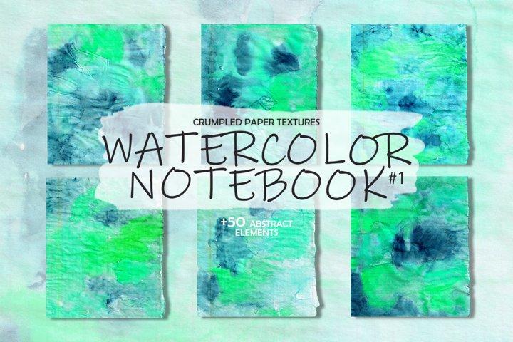 Crumpled Textures Watercolor notebook