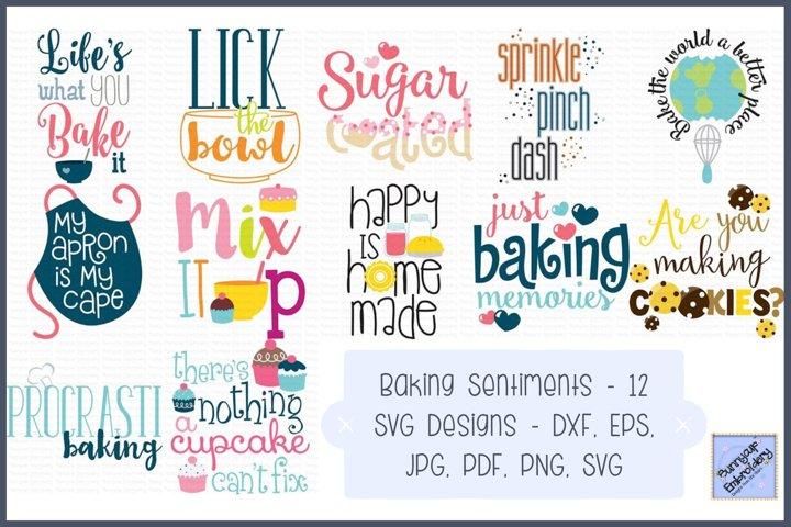 Baking Sentiments - SVG, Clipart, Printables - 12 Designs