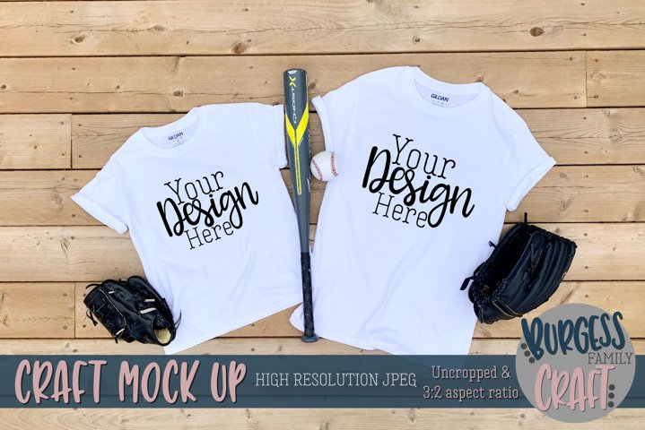 Parent and child baseball Gildan t-shirt |Craft mock up