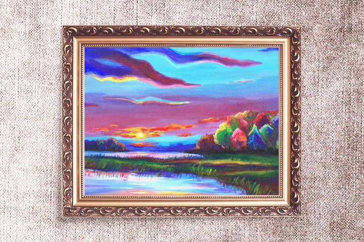 Colorful Landscape, Forest and Lake - Printable Wall Art