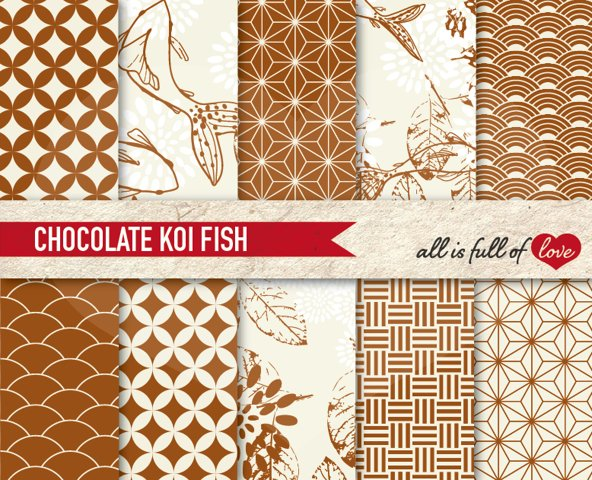 Japanese Backgrounds Chocolate Brown Digital Graphics