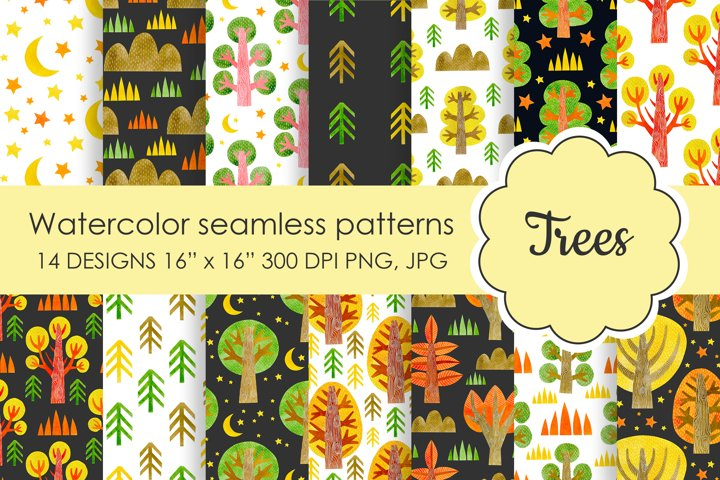 Watercolor seamless pattern autumn trees.