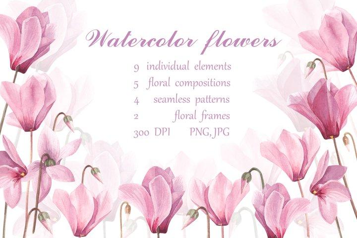 Watercolor seamless pattern of cyclamen flowers.