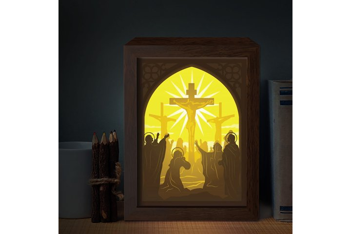 JESUS 7 3D Paper Cutting Light Box - Shadow Box