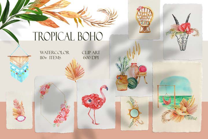 Tropical Boho Watercolor Clipart