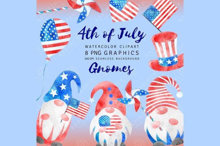 4th of July Clipart, Watercolor, Patriotic Gnome clip art