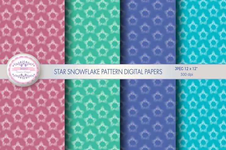 STAR SNOWFLAKE PATTERN DIGITAL PAPERS