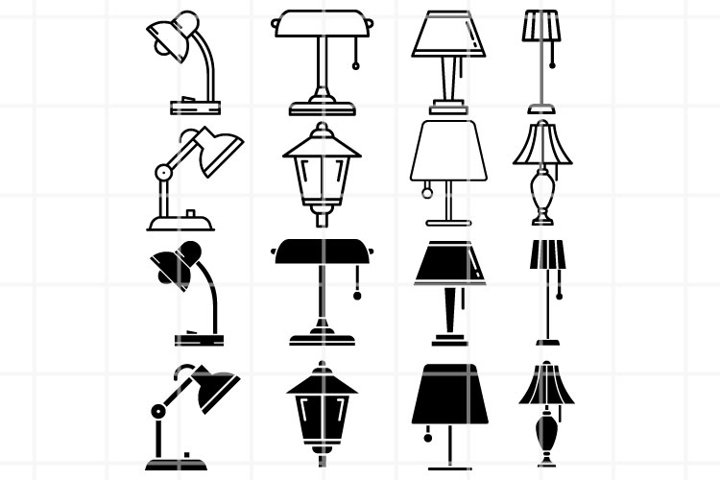 Lamp SVG. Lantern cut file. Floor lamp cutting set. Vector.