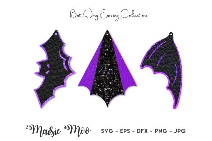 Bat Wing Earring SVG, Halloween Faux Leather Earrings
