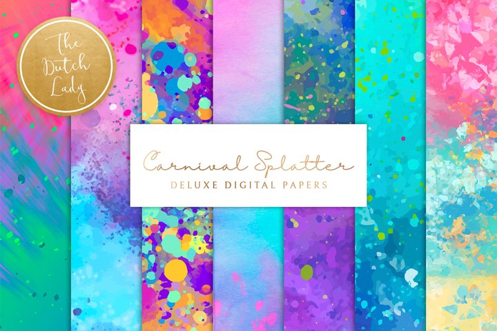 Digital Backgrounds & Papers - Happy Carnival Splatters