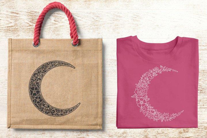 Floral Crescent Moon - SVG - Vector - Free Design of The Week Design2