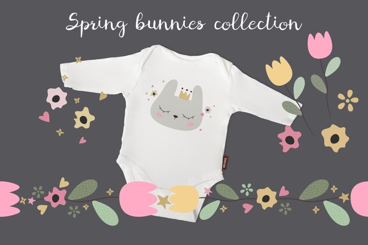 Spring bunnies collection. Cute animals and flowers.