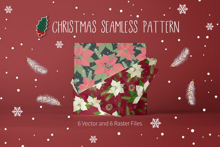 Christmas Poinsettia Seamless Pattern