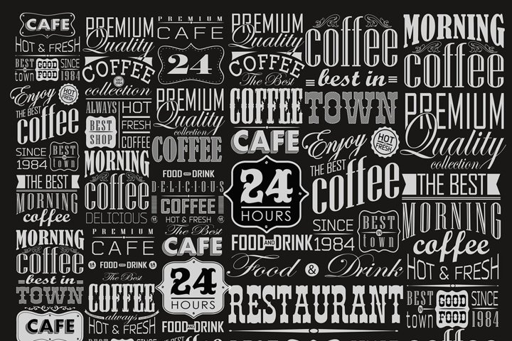 Coffee typography set