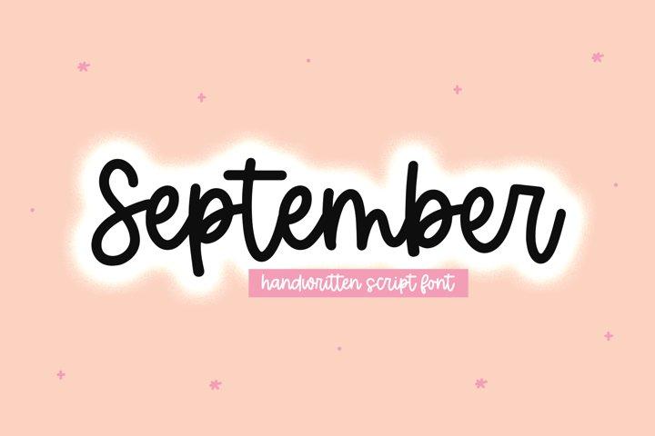 September - Handwritten Script Font