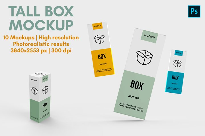 Tall Box Mockup v2 - 10 Views