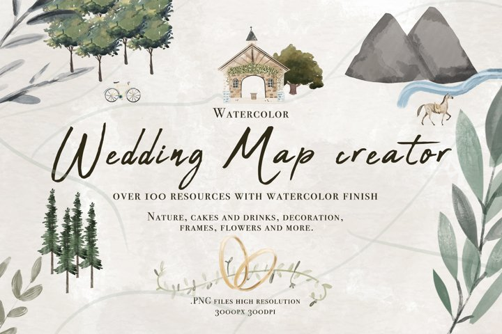 Wedding map creator watercolor