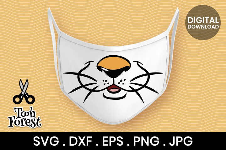 Tiger SVG, DXF, EPS, and PNG cut files for face mask