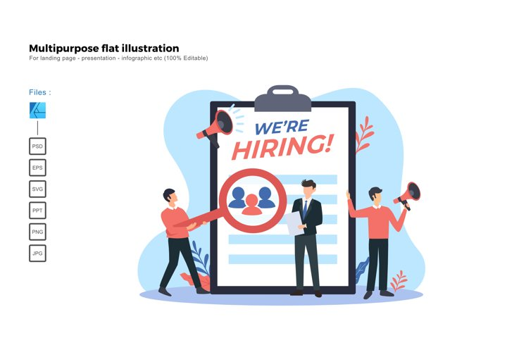 Flat illustration hiring teams