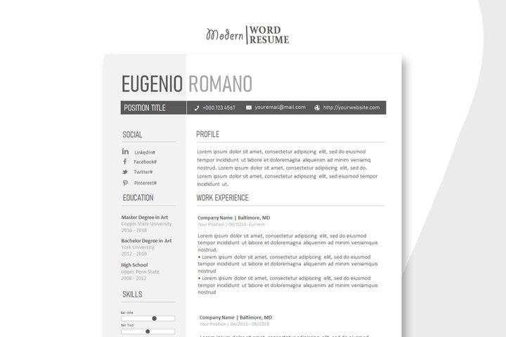One Page Resume Template | Cover Letter | Reference Page