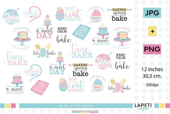 Baking quotes clipart, cupcakes and cooking graphics