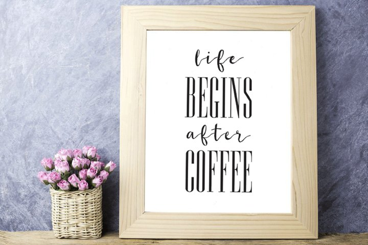 Coffee Printable Life Begins After Coffee Print Coffee Quote