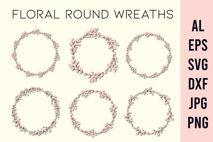 Wreath SVG | Floral circle frame SVG |Easter wreath frame