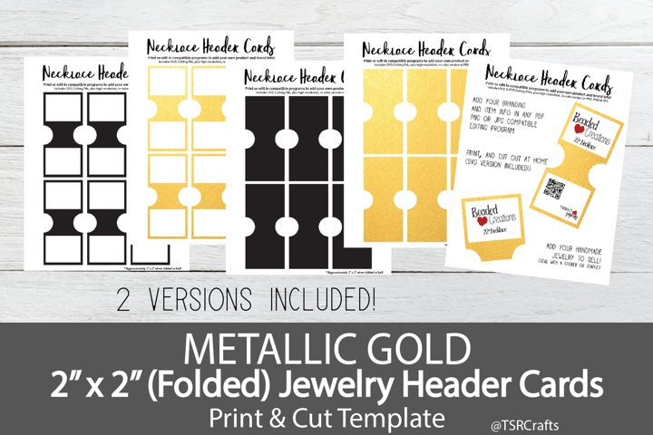 Jewelry Header Cards for Necklace - Metallic Gold