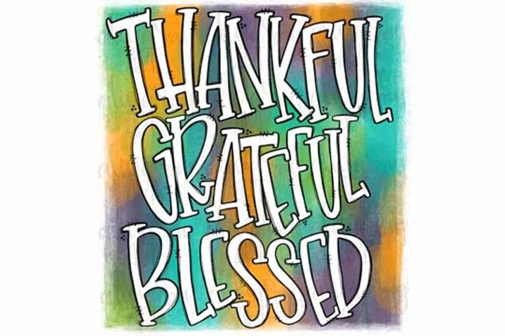Thankful Grateful Blessed Watercolor