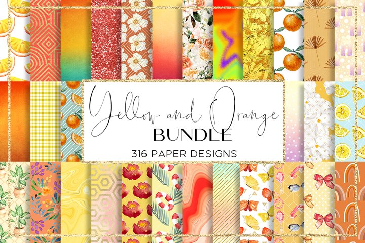 Yellow and Orange BUNDLE digital paper