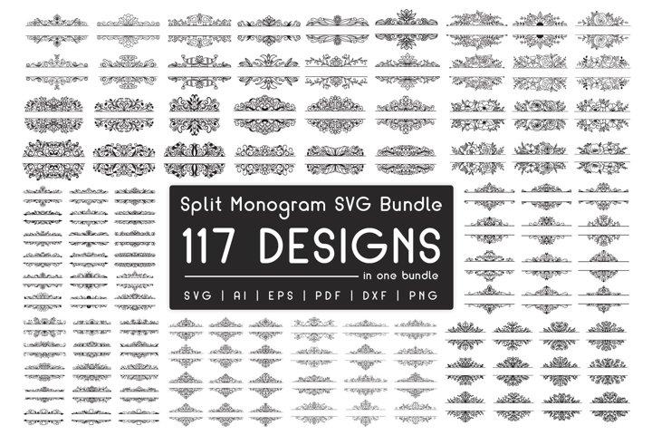 Split Monogram Divider Frames SVG Bundle - Split Frames SVG