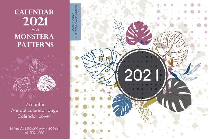 Wall Calendar 2021. Monstera leaves.