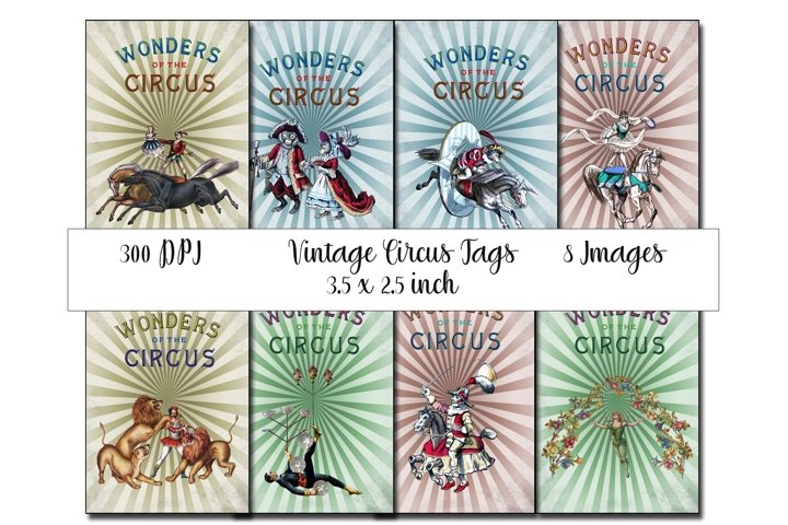 Vintage Circus Printable Tags - ATC cards