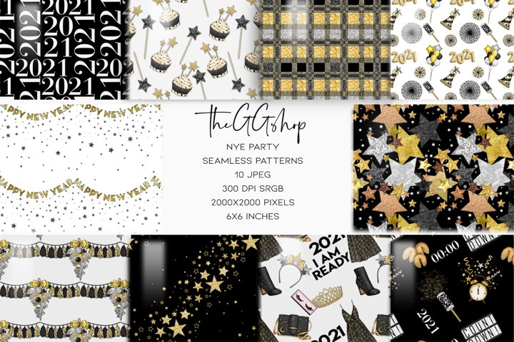 New Years Eve Seamless Patterns