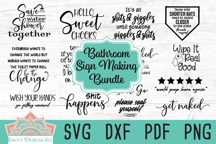 Bathroom Sign Making Cut File Bundle