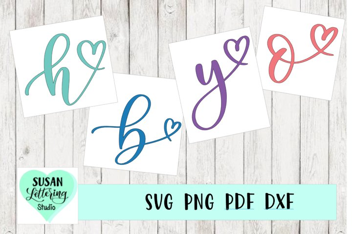 Hand lettered Calligraphy Alphabet Monogram Heart Initials