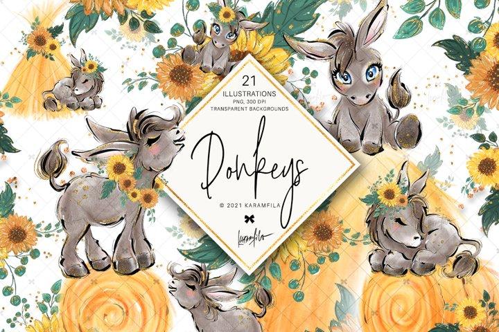 Donkeys & Sunflower Clipart, Farm Life Sublimation Images