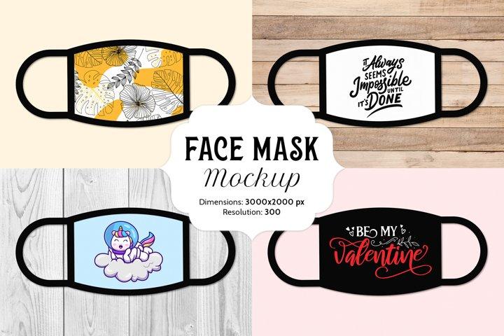 Face Mask mockup with 16 bonus free JPG images
