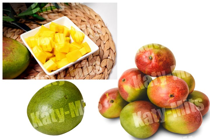 Set of 3 photos of beautiful fresh mangoes