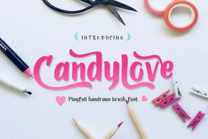Candylove - Playful hand lettering brush font
